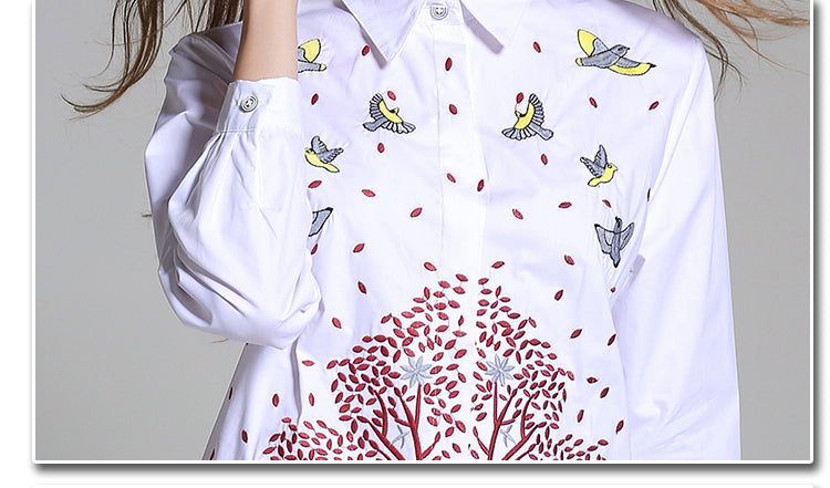 Women's Long Sleeve Embroidery Shirt