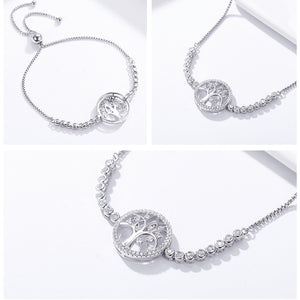Sterling Silver Tree of Life Tennis Bracelet