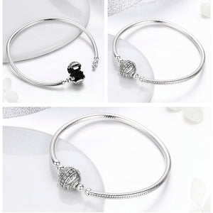 Sterling Silver Dazzling Clear CZ Round Clasp Bracelet