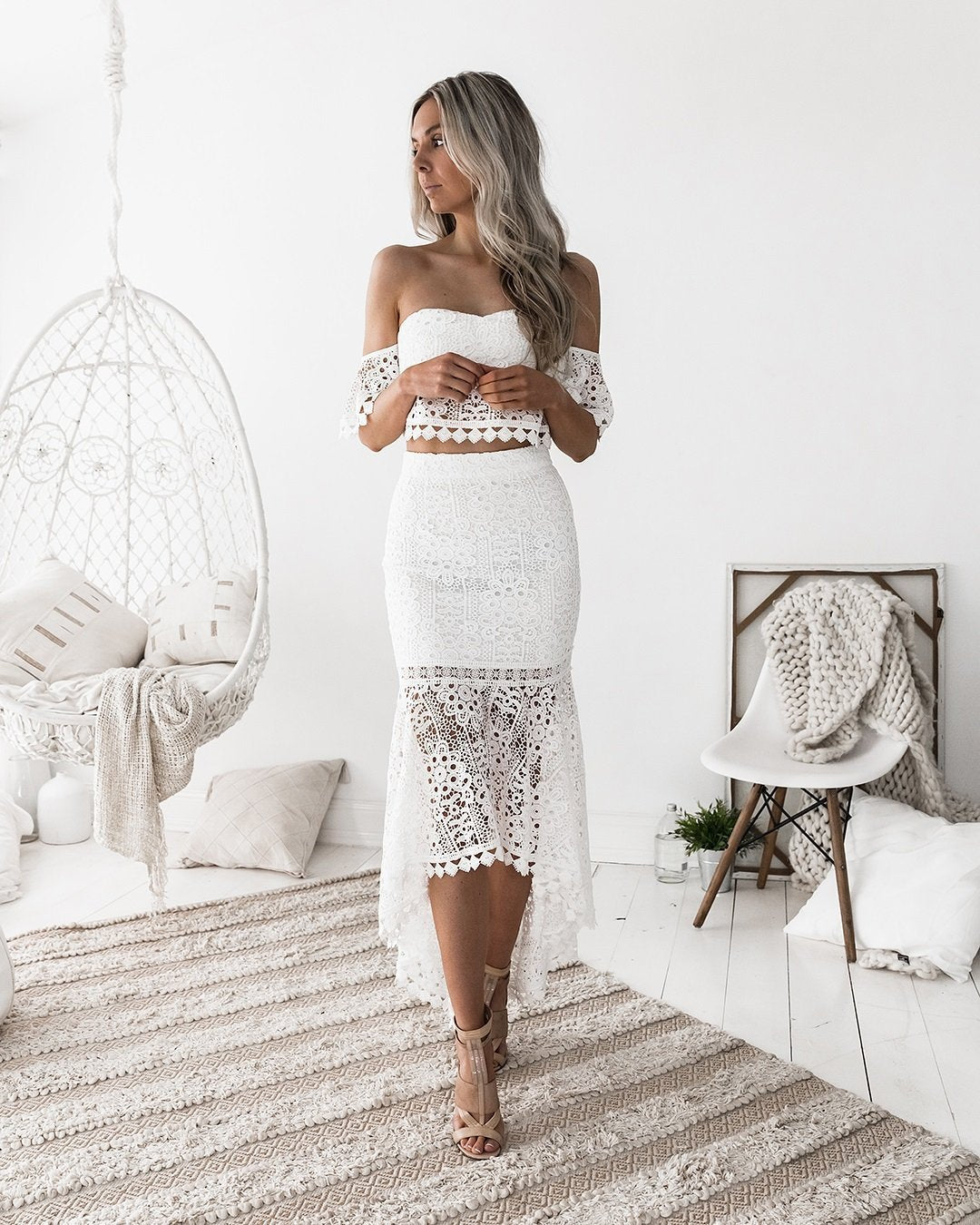 Glam White Lace Crop Top Skirt Suit