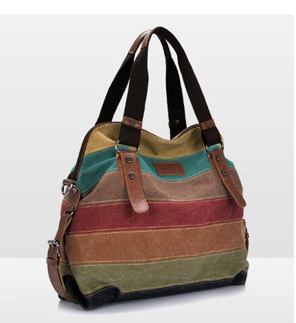 The seven striped canvas bag
