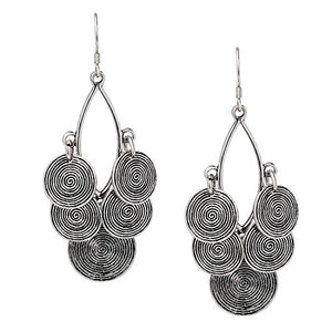 Clustered circular dangling earrings