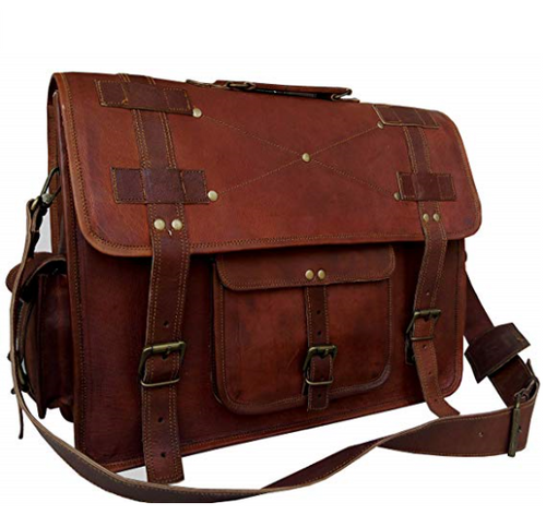 'Distressed' look leather laptop bag