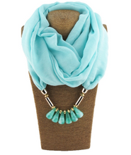 2 in 1 Beaded silk scarf- Necklace Scarf ( 6 colors available)