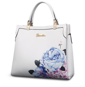 Pure leather floral print  luxury handbag