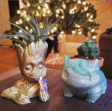 Gold groot planter with mint bulbasaur planter