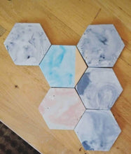 Hexagon Coasters in  Blue Marble