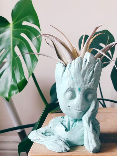 Mint green baby groot concrete/cement planter with airplant