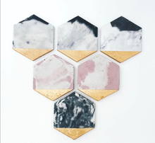 Hexagon Coasters in Pink Marble