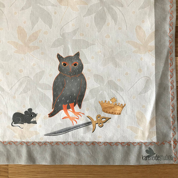 Tea Towel - 50/50 Cotton/Linen: Retired Owl