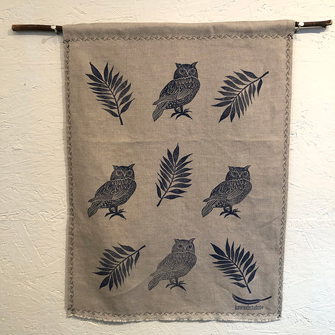 Tea Towel - Linen:  4 Owls