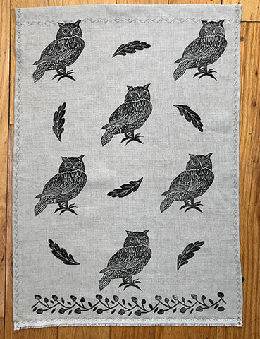 Tea Towel - Black Owl