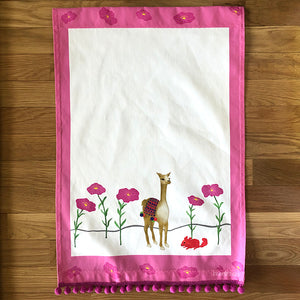 Tea Towel - 50/50 Cotton/Linen: Llama & Chinchilla