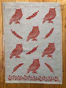 Tea Towel - Orange Owls