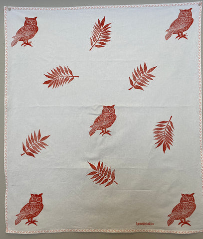 Tea Towel - Owls + Ferns