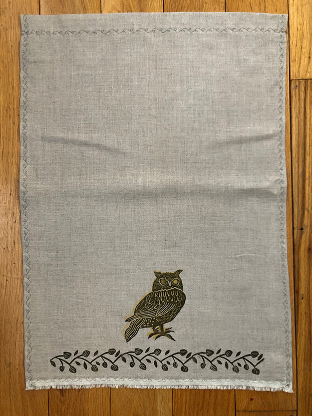 Tea Towel - Black and Gold Owl