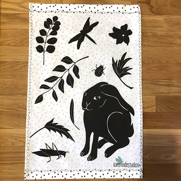 Tea Towel - 50/50 Cotton/Linen: Rabbit Habit
