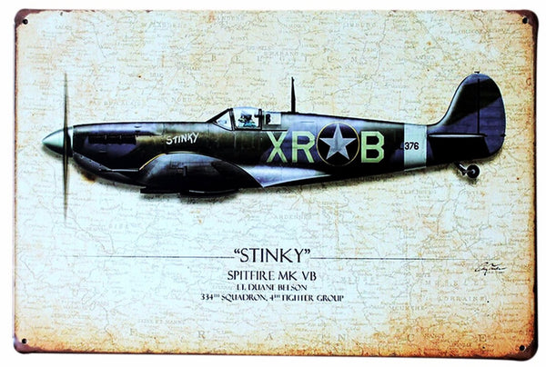 Vintage Tin Sign -Spitfire-ASUSA-Downunder Pilot Shop
