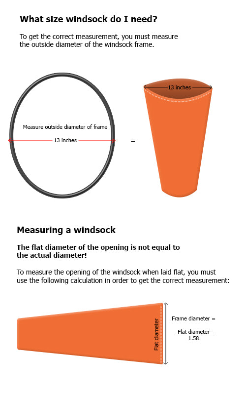 Airport Wind Sock 10 inch-Wind Socks and Frames-Downunder Pilot Shop