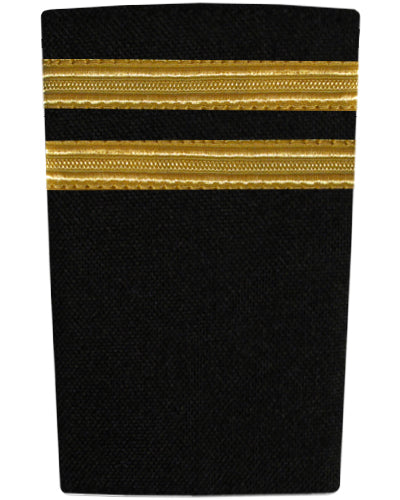 Epaulettes Two Bar Gold on Black-Downunder-Downunder Pilot Shop