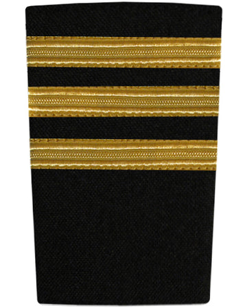 Epaulettes Three Bar Gold on Black