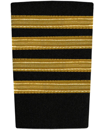 Epaulettes Four Bar Gold on Black