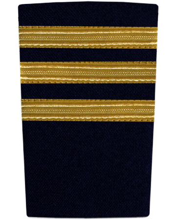 Epaulettes Three Bar Gold on Navy