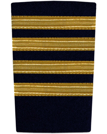 Epaulettes Four Bar Gold on Navy