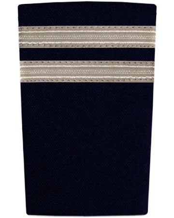 Epaulettes Two Bar Silver on Navy