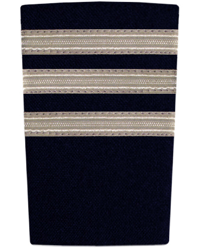 Epaulettes Three Bar Silver on Navy-Downunder-Downunder Pilot Shop