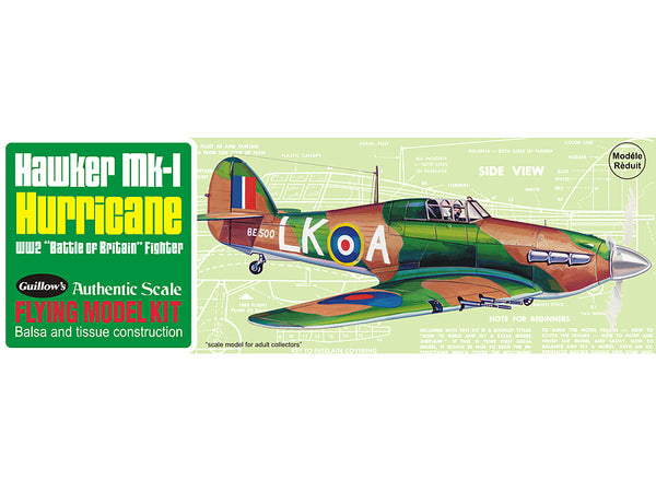 Guillows Hawker Hurricane Rubber-Powered Balsa Model Kit-Guillows-Downunder Pilot Shop