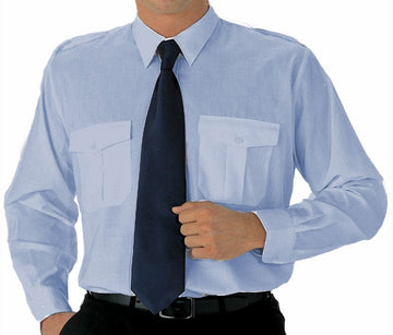 Mens Long Sleeve Pilot Dress Shirt Blue