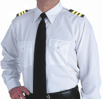 Mens Long Sleeve Pilot Dress Shirt White