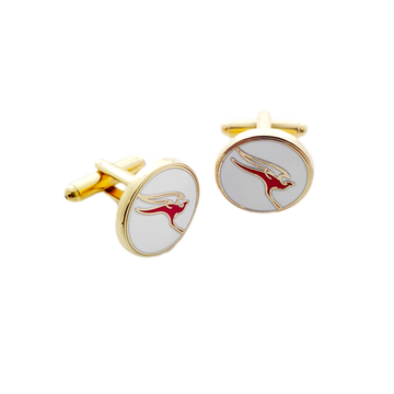 Qantas Gold Retro Logo Cufflinks