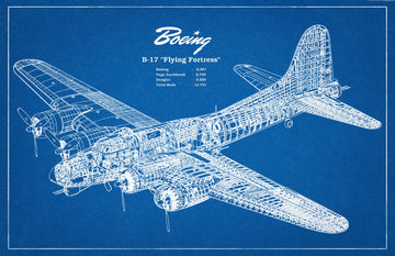 Vintage Blueprint Poster - Boeing B-17 Flying Fortress