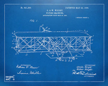 Vintage Blueprint Poster - O. & W. Wright Flying Machine