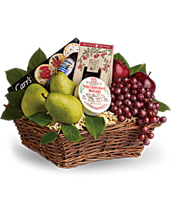 Wonderful and Welcoming Gourmet Cheese and Fruit Gift Basket