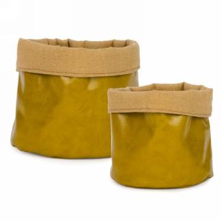 Yellow faux leather basket