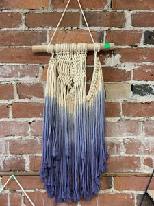 Hanging Macrame Decor, blue ombre