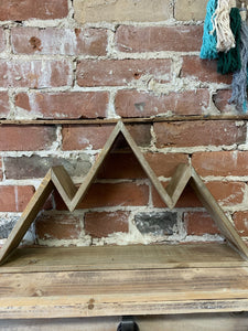 Mountain range wood shelf