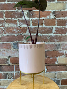 Pink and gold standing pot