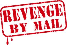 """Revenge By Mail"" written in a red rubber stamp dripping blood"