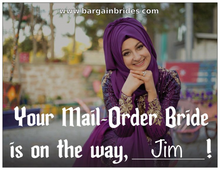 "Prank Postcard: ""Your Mail-Order Bride is on the way, Jim! www.bargainbrides.com"""