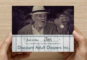 adult diapers prank card, old man, funny