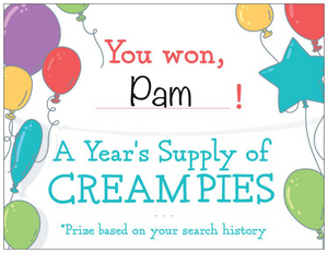 "Prank Postcard that says, ""You won! A year's supply of cream pies. Prize based on your search history."""