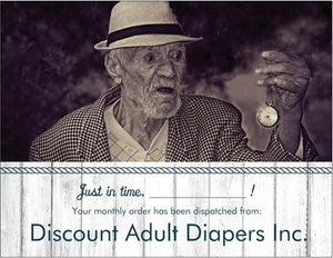 Funny, joke birthday card, april fools, getting old, diapers, grandpa