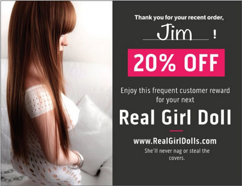 Real Girl Doll Prank Postcard. Frequent Customer Reward 20% off.