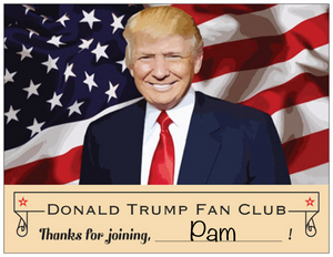 Donald Trump Fan Club Prank Postcard. Thanks for joining.