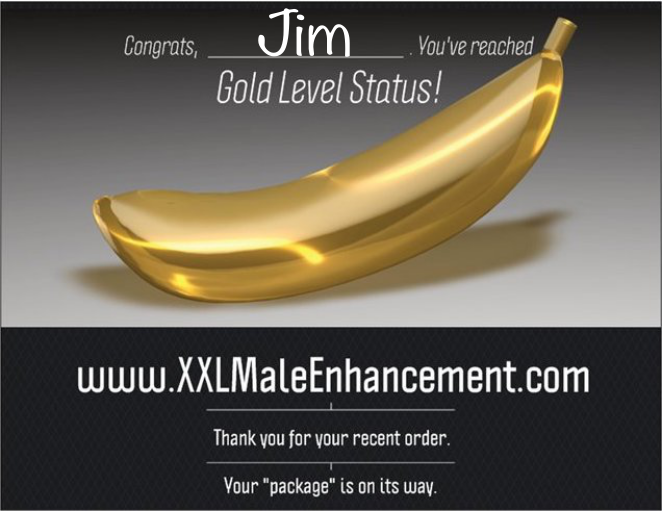 XXL Male Enhancement Prank Postcard. You've reached Gold Level Status. Your package is on the way.