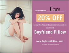 Boyfriendpillows.com discount Prank Postcard. Enjoy this frequent customer discount. For all those lonely nights.